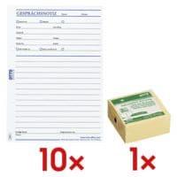 OTTO Office 10x Formularvordrucke »Gesprächsnotiz« inkl. Haftnotizwürfel »Recycling«