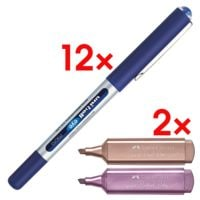 12x Tintenroller uni-ball uni-ball eye micro inkl. 4 Textmarker »TL 46 Metallic« (2x rubin / 2x rosa)