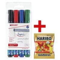 Edding 4er-Pack Flipchart Marker »380« inkl. Fruchtgummi »Goldbären«