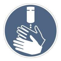 Aufkleber / Hinweisschild »Hände desinfizieren« (GBP 28), Ø 10 cm, 10 Stück