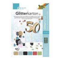 folia 5x Glitterkarton-Block »Basic«