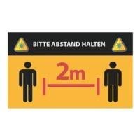 Wandaufkleber »Bitte Abstand halten - 2 Personen - 2 m« Reckteck Innenbereich 25 x 15 cm gelb / schwarz