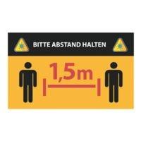 Wandaufkleber »Bitte Abstand halten - 2 Personen - 1,5 m« Reckteck Innenbereich 25 x 15 cm gelb / schwarz