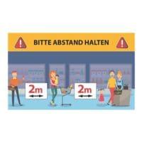 Wandaufkleber »Bitte Abstand halten - Warteschlange Comic - 2 m« Reckteck Innenbereich 25 x 15 cm gelb / blau