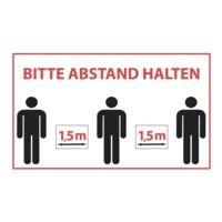 Wandaufkleber »Bitte Abstand halten - Warteschlange 3 Personen - 1,5 m« Reckteck Innenbereich 25 x 15 cm weiß / schwarz