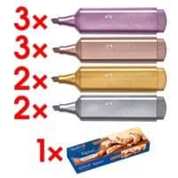 10-tlg.Faber-Castell Textmarker-Set TL 46 Metallic - 4 Farben, Keilspitze, inkl. Gebäck »Kipferl«