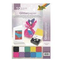 folia 5er-Pack Glitterpapier »Glänzend«, je 10 Blatt