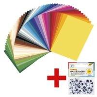 folia Tonpapier inkl. 100 selbstklebende Wackelaugen - 6 verschiedene Größen