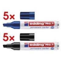 10x edding Permanent-Marker No. 1 - Keilspitze, Strichstärke 1  - 5,0 mm (XB)
