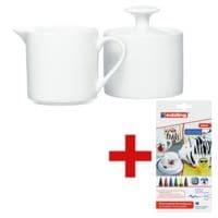 Ritzenhoff & Breker 2-teiliges Set Zuckerdose & Milchgießer »Bianco« inkl. 6er-Set Fasermaler »Porzellan-Marker und Pinselstift 4200«