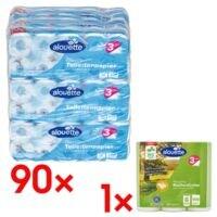 9x alouette Toilettenpapier 3-lagig, weiß - 90 Rollen (9 Pack à 10 Rollen) inkl. Küchenrollen (halbe Blätter) »Recycling« 3-lagig