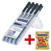 STAEDTLER Universalstift 4er-Pack Lumocolor permanent schwarz - Rundspitze, Strichstärke 0,6 mm (F) inkl. Fruchtgummi »Goldbären« 200 g