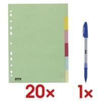 20x OTTO Office Register, A4, blanko 6-teilig, mehrfarbig, Recycling-Karton, inkl. Einweg-Kugelschreiber »Eco Stick«