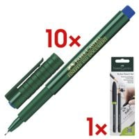 10x Faber-Castell Fineliner Finepen 1511, 0,4mm inkl. 2er-Pack Bleistift »Stylus Pencil« B