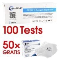 Clungene 100x Corona Schnelltest per Nasenabstrich (gekühlte Lieferung) inkl. GRATIS FFP2-Masken im Wert von 59,90 € (netto)