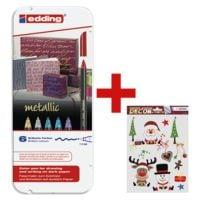 Edding 6er-Set Faserschreiber »1200 metallic« inkl. Fensterbild-Set »Weihnachtsfreude«