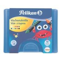 Pelikan Wachsmalstifte 10 Stk. inkl. Schaber (in Fischform) und Kunststoff-Etui