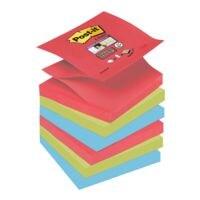 6x Post-it Super Sticky Haftnotizblock Z-Notes 7,6 x 7,6 cm, 540 Blatt gesamt, farbig sortiert, Z-Faltung
