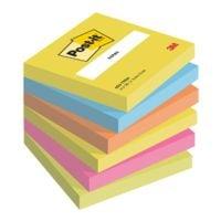 6x Post-it Notes Haftnotizblock Active Collection 654 7,6 x 7,6 cm, 600 Blatt gesamt, farbig sortiert