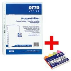 OTTO Office Prospekthülle Standard A4 genarbt, oben offen - 100 Stück inkl. Pagemarker »Pfeil« 43 x 11 mm