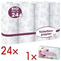 Toilettenpapier Big Pack 3-lagig, weiß - 24 Rollen (1 Pack à 24 Rollen) inkl. Kosmetiktücher 90 Stück