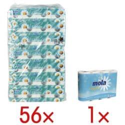 Regina Toilettenpapier Kamille 3-lagig, weiß - 56 Rollen (7 Pack à 8 Rollen) inkl. Küchenrollen