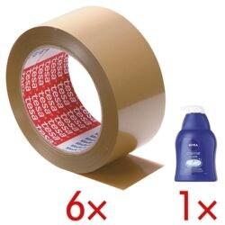 6x Packband tesa 4124, 50 mm breit, 66 Meter lang inkl. Cremeseife »Creme Care«