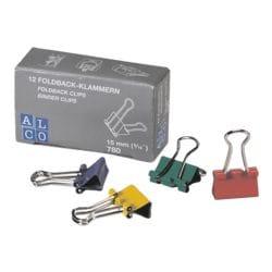 Alco Foldback-Klammern 15 mm, mehrfarbig, 12 Stück