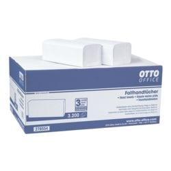 Papierhandtücher OTTO Office 2-lagig, naturweiß, 25 cm x 23 cm aus Tissue mit Z-Falzung - 3200 Blatt gesamt