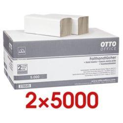 2x Papierhandtücher OTTO Office Budget Budget 1-lagig, naturweiß, 25 cm x 23 cm aus Recyclingpapier mit Z-Falzung - 10000 Blatt gesamt