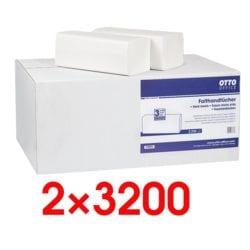 2x Papierhandtücher OTTO Office 2-lagig, weiß, 25 cm x 23 cm aus Tissue mit Z-Falzung - 6400 Blatt gesamt