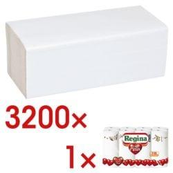 Papierhandtücher OTTO Office 2-lagig, weiß, 25 cm x 23 cm aus Tissue mit Z-Falzung - 3200 Blatt gesamt inkl. Küchenrollen