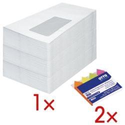 Briefumschläge, DL 75 g/m² mit Fenster - 1000 Stück inkl. 2x Pagemarker »Pfeil« 43 x 11 mm
