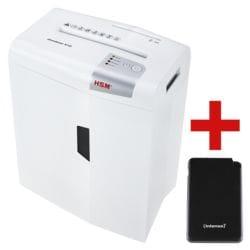Aktenvernichter HSM shredstar X10, Sicherheitsstufe 4, Partikelschnitt (4,5 x 30 mm) bis 10 Blatt inkl. Slim Powerbank