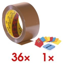 36x Packband Scotch Low Noise, 50 mm breit, 66 Meter lang inkl. Haftnotizen »Z-Notes«