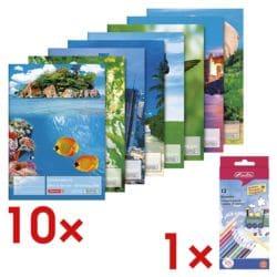 Brunnen 10x Zeichenblock inkl. 12er-Pack Holz-Buntstifte