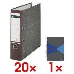 20x Ordner A4 LEITZ 1080 breit, Wolkenmarmor mit farbigem Rücken inkl. Collegeblock »Office«
