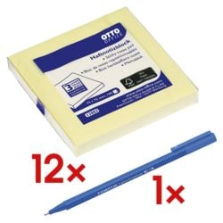 12x OTTO Office Haftnotizblock 7,5 x 7,5 cm, 1200 Blatt gesamt, gelb inkl. Broadliner »triplus«