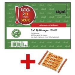 Sigel Formularbuch »SD 021 - Quittung mit MwSt.« 2+1 Aktion inkl. 1x Kaubonbons »Karamell Riesen«