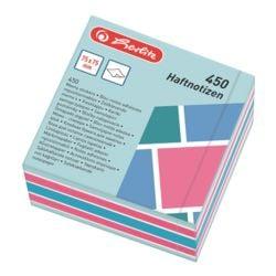 Herlitz Haftnotizblock 7,5 x 7,5 cm, 450 Blatt gesamt, farbig sortiert