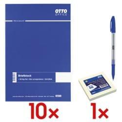 10x OTTO Office Briefblock, A4, kariert, 500 Blatt inkl. Haftnotizblock 75 x 75 mm + Einweg-Kugelschreiber »Eco Stick«