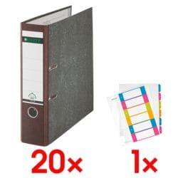 20x Ordner A4 LEITZ 1080 breit, Wolkenmarmor mit farbigem Rücken inkl. Kunststoffregister »WOW 1242« 1-6 A4 Maxi