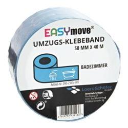 Loer & Schäfer Umzugs-Klebeband EasyMove® Badezimmer hellblau, 50 mm breit, 40 Meter lang
