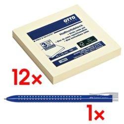 12x OTTO Office Haftnotizblock 7,5 x 7,5 cm, 1200 Blatt gesamt, gelb inkl. Einweg-Kugelschreiber »Grip 2022«