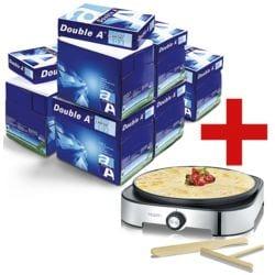 6x Multifunktionales Druckerpapier A4 Double A - 15000 Blatt gesamt, 80 g/m² inkl. Crêpes-Maker »CM 2197« + Wasserball