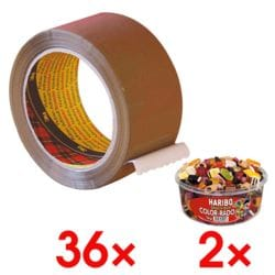 36x Packband Scotch Premium, 50 mm breit, 66 Meter lang - leise abrollbar inkl. 2x Fruchtgummi »Color-Rado«