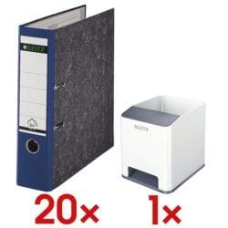 20x Ordner A4 LEITZ 1080 breit, Wolkenmarmor mit farbigem Rücken inkl. Sound Stifteköcher »WOW Duo Colour 5363« weiß