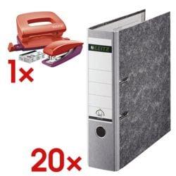 20x Ordner A4 LEITZ 1080 breit, Wolkenmarmor mit farbigem Rücken inkl. Schreibtisch-Set »Urban Chic«