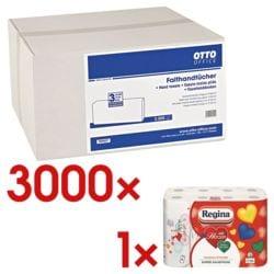 Papierhandtücher OTTO Office 2-lagig, hochweiß, 21 cm x 24 cm aus Zellstoff mit I-Falzung - 3000 Blatt gesamt inkl. Küchenrollen 8er-Pack