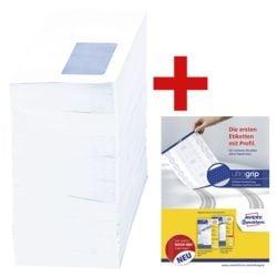 Briefumschläge, DIN lang 75 g/m² mit Fenster, selbstklebend - 1000 Stück inkl. Musterset »Universal- und Adress-Etiketten ultragrip«